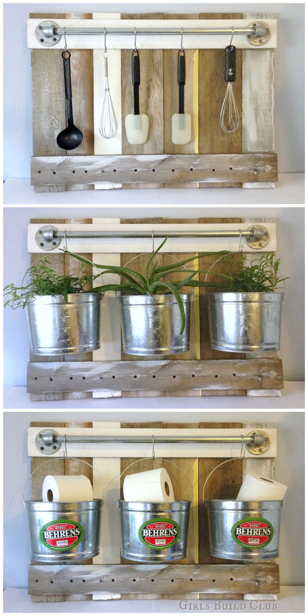 One wall organizer, 3 ways. So many possibilities! Un-clutter your space with this versatile wall organizer diy. It's easy to build from scrap wood and pipe and fits in with a rustic farmhouse decor. Hanging plants, kitchen utensils, or bathroom rack