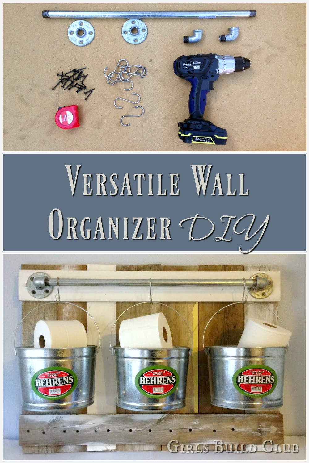 Organize your bathroom and de-clutter! I built this wall organizer out of scrap wood, pipe, and addes some galvanized buckets. Totally helps get the clutter off your counter and looks good too. rustic farmhouse style bathroom.