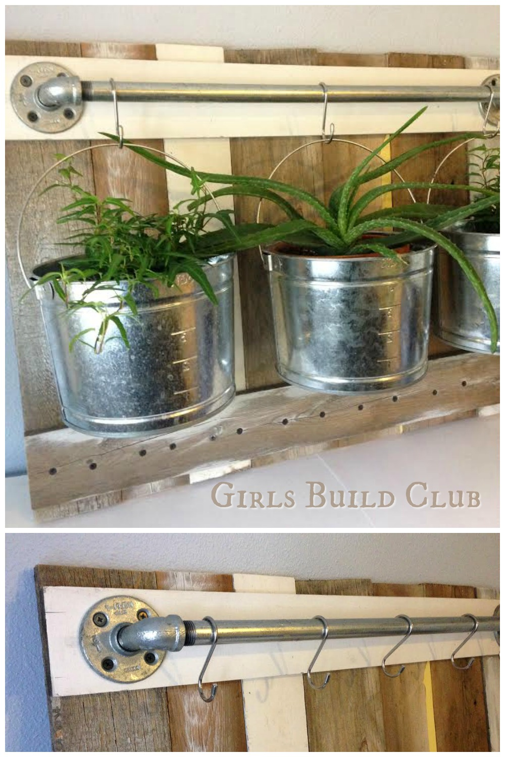 Hanging plants with buckets, scrap wood, and some pipe. This was so easy to build, and cheap too. Looks very rustic and farmhouse with the chippy paint and galvanized buckets.