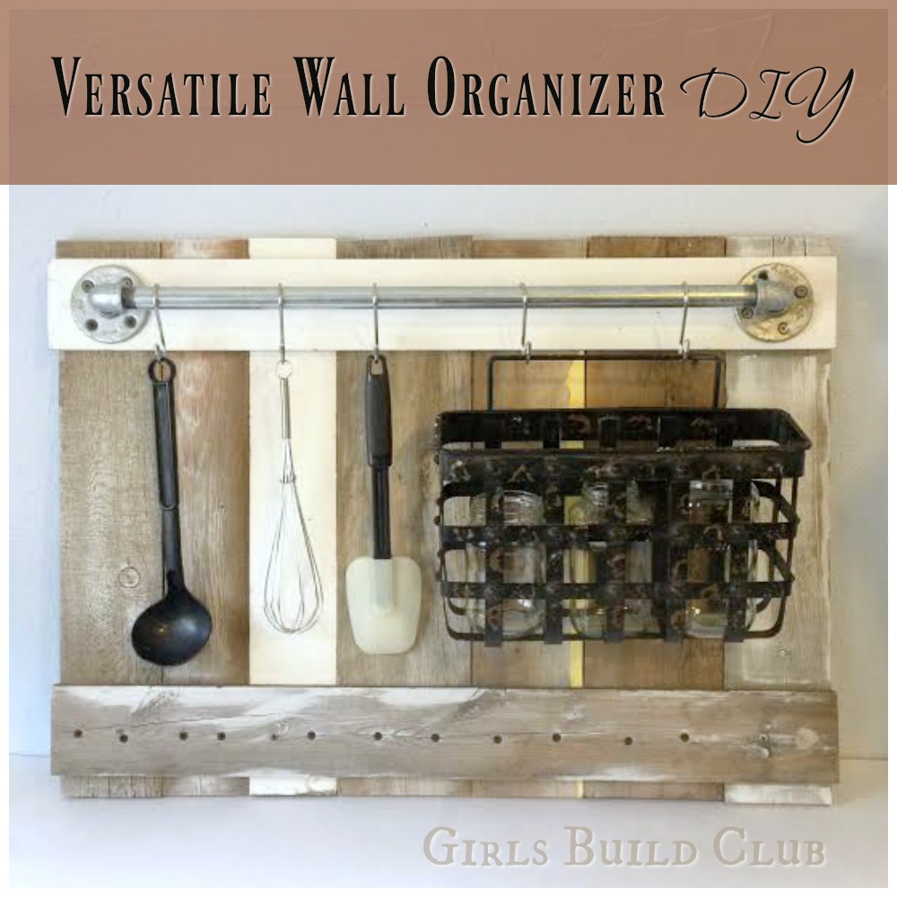 Kitchen utensil rack diy. I made this wall organizer from scrap wood and pipes so it was super cheap. Would look great in a country farmhouse kitchen or even a beachy coastal theme. I'm loving distressed wood and chippy paint