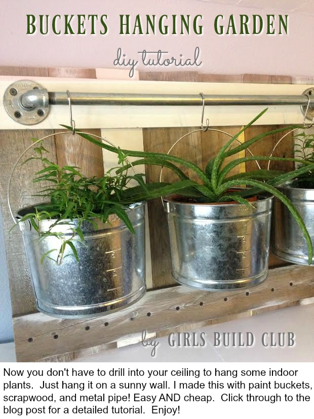 Farmhouse buckets hanging garden. Now you don't have to drill into your ceiling to install your hanging plants. Build this and hang it on a sunny wall in your farmhouse kitcfhen or bohemian kitchen! Easy farmhouse decor diy. Enjoy. :) Click through to the full tutorial on GirlsBuildClub.com