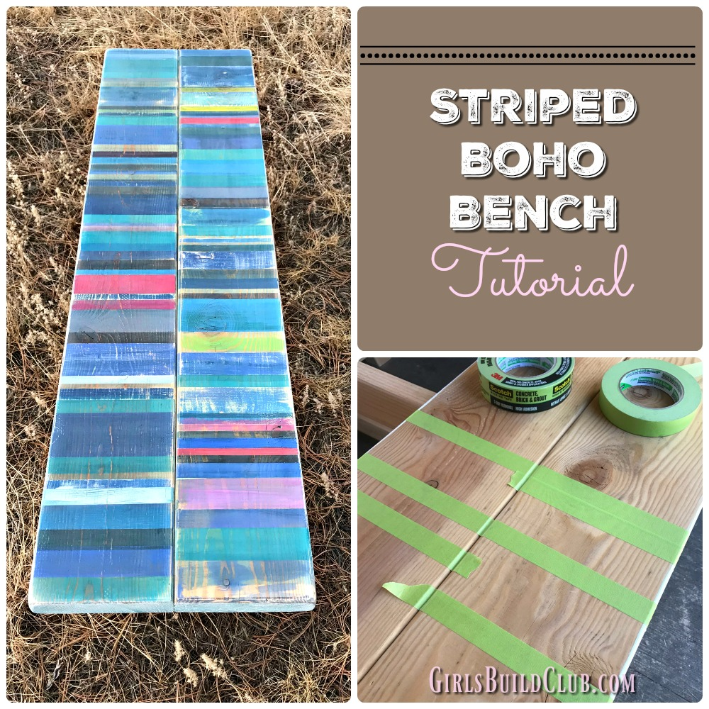 Striped Boho Bench Chic Bohemian Furniture Pretty Easy Painted