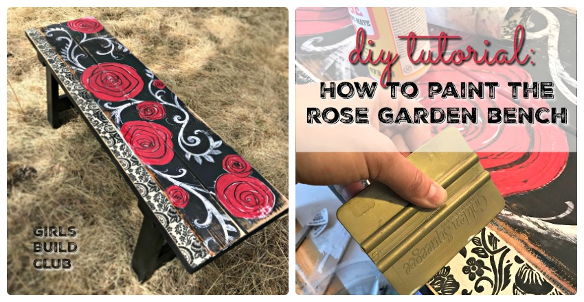 Phenomenal Hand Painted Rose Garden Bench Diy Girls Build Club Pabps2019 Chair Design Images Pabps2019Com