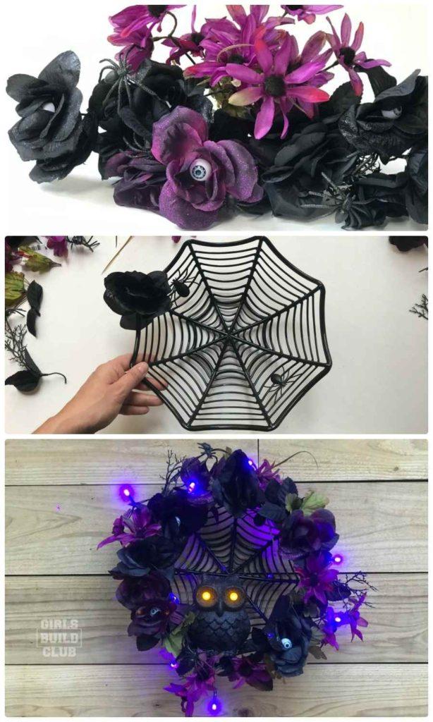 Diy Halloween Wreath A Dollar Store Decor Project Girls Build Club